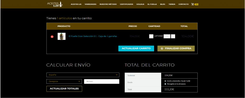 proceso compra online aceite